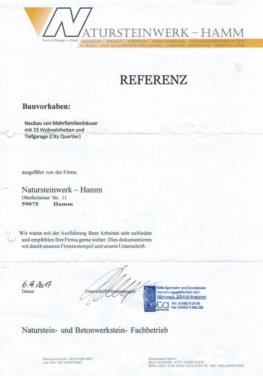 Referenz - beta Eigenheim- und Grundstücksverwertungsgeselschaft mbH