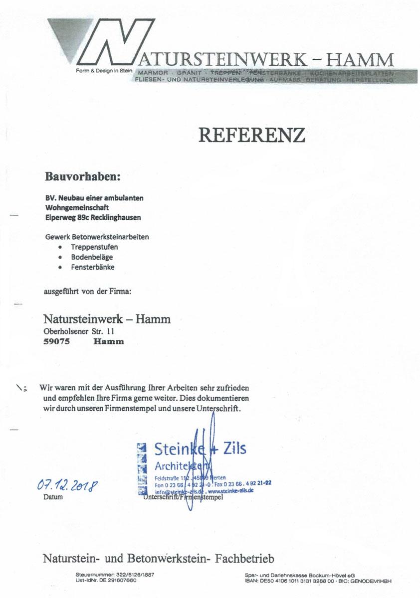 Referenz - Steinke + Zils Architekten